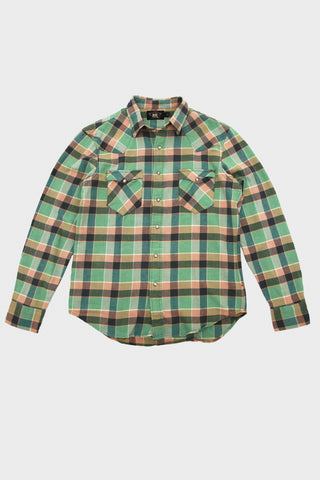 rrl ralph lauren Slim Plaid Twill Western Shirt - Green/Coral