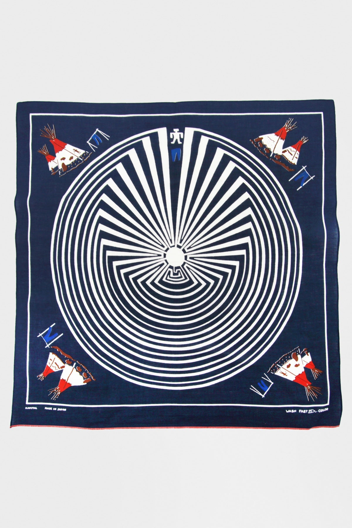 kapital Fastcolor Selvedge Bandana (DENIM MAN IN MAZE) - Navy
