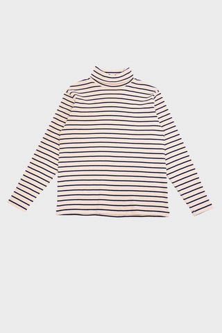 beams plus Stripe Turtle Neck Sweater  - Off White