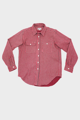 engineered garments workaday Utility Shirt - Red Cotton Mini Stripe Flannel