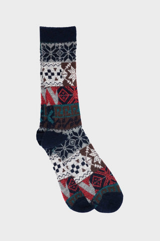 anonymous ism Multi Pattern Jacquard Crew socks - Navy