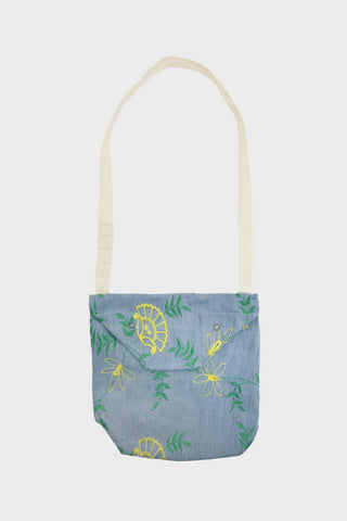 engineered garments Shoulder Pouch - Denim Floral Embroidery