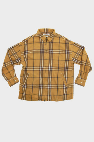 Remi Relief Big Checked Printed Zip Shirt - Yellow