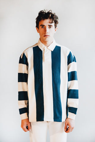 you must create (ymc) JJ Rugby Shirt - Ecru/Blue