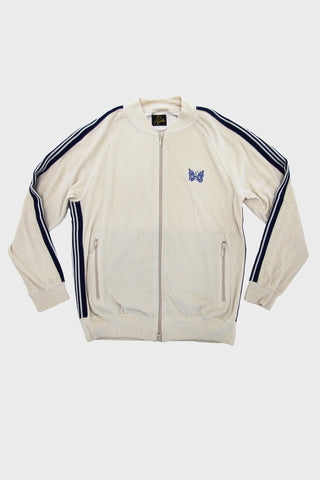 needles velour rib collar track jacket in beige full front product image