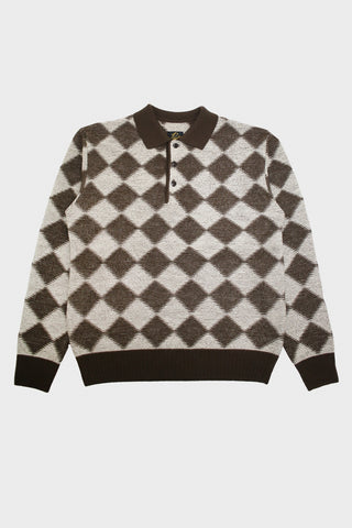needles clothing japan Checkered Polo Sweater - Dark Brown