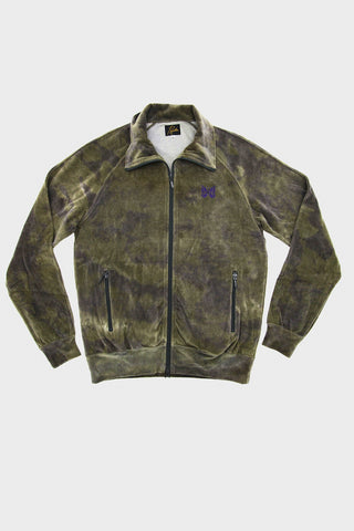 needles velour track jacket in olive full frontal image