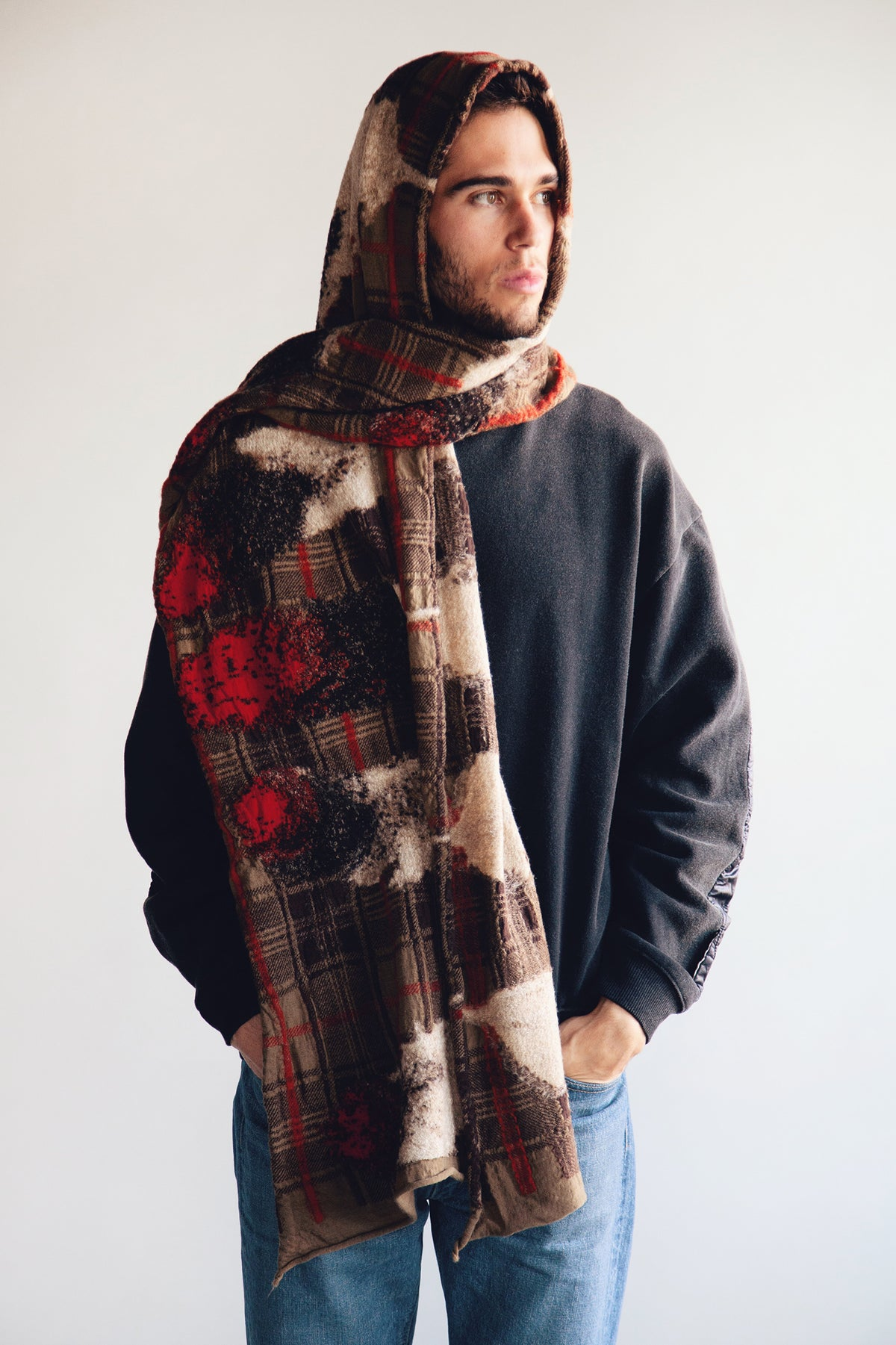 Kapital - Compressed Wool Scarf - FEATHER TARTAN Beige - Canoe Club