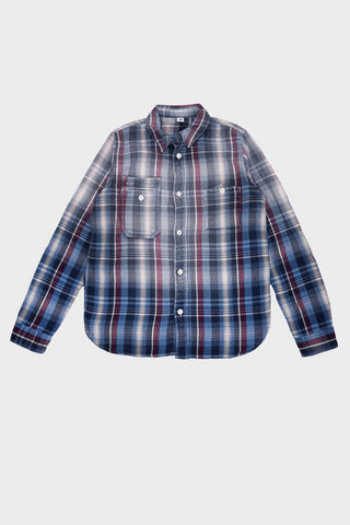 pure blue japan Indigo Check Long Sleeve Shirt - Red