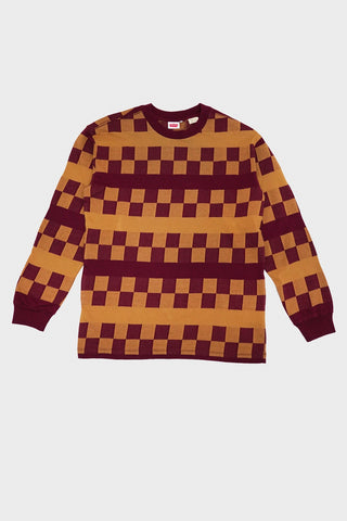 levi's vintage clothing 80's Long Sleeve Tee - Oxblood Checker