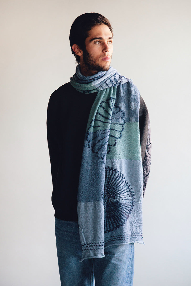 Kapital - Compressed Wool Scarf - FUROSHIKI FIVE RINGS Sax - Canoe Club