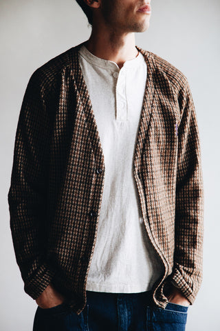 needles clothing japan V Neck Cardigane - Brown Gunclub Jacquard