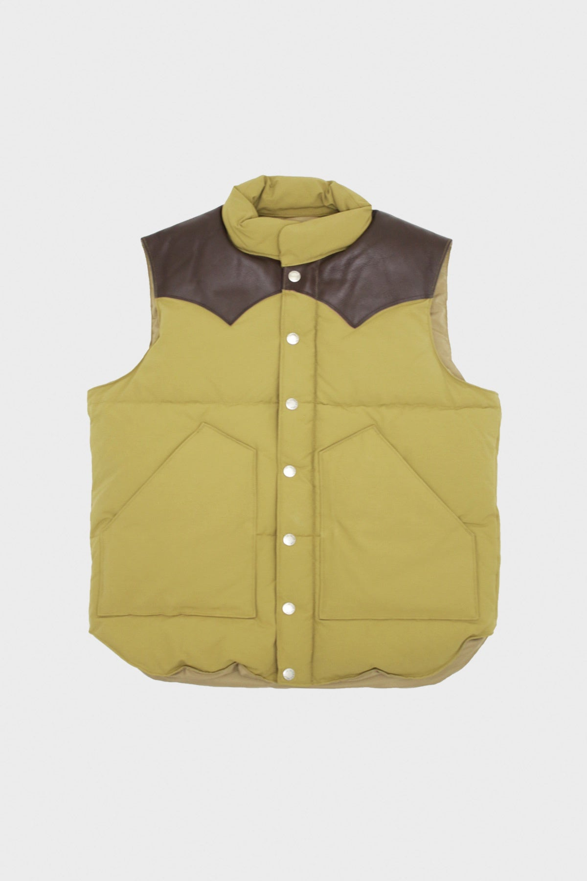 Sugar Cane - Leather Yoke Down Vest - Brown - Canoe Club
