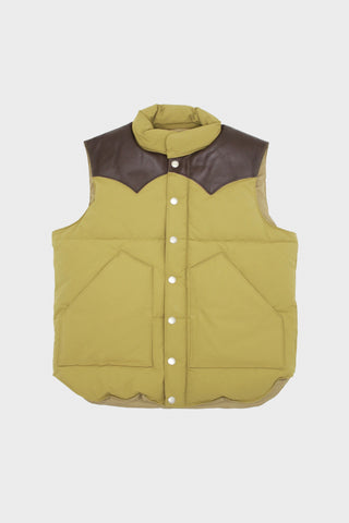 sugar cane Leather Yoke Down Vest - Brown