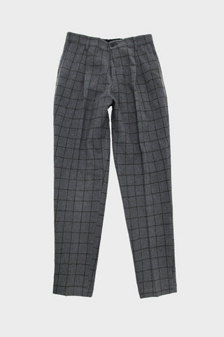 Washed Flannel Pleated Pants - Black and White