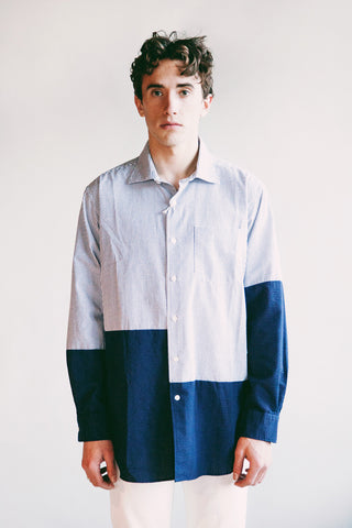 engineered garments Spread Collar Shirt - Blue White CP Seersucker Stripe