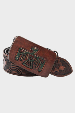 Double R L Jackson Belt in medium brown with thunderbird belt buckle