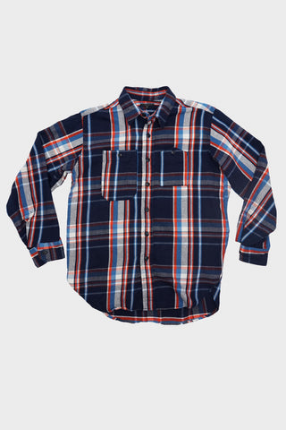 engineered garments Work Shirt - Navy/Orange/Lt. Blue Cotton Twill Plaid