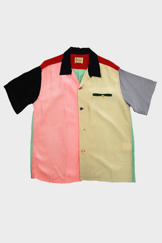 Sugarcane clothing japan Pattern Rayon Bowling Shirt - Crazy & Plain