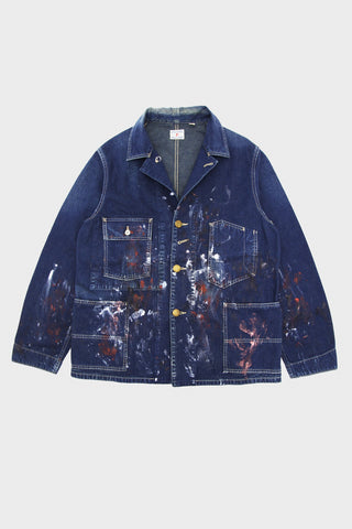 full count Hand Painted Denim Coverall Apprentice Jacket