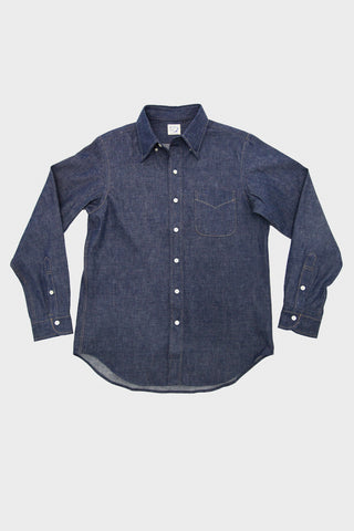 orslow button down shirt in rigid denim