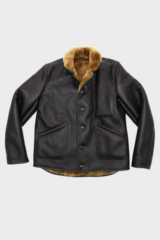 Sheepskin Leather Brainticket Jacket - Brown