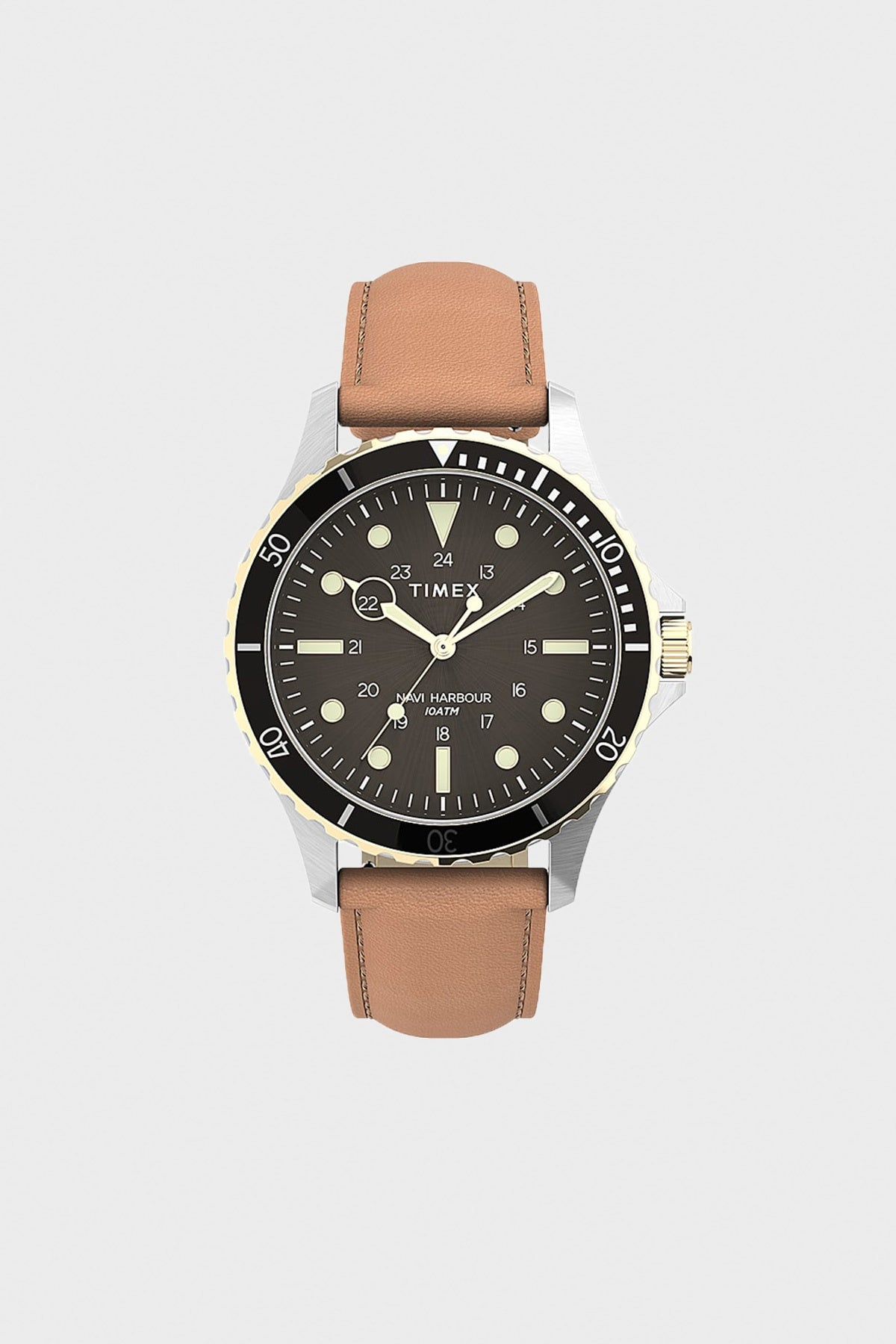 Timex - Navi XL Leather Strap Watch - Stainless/Tan/Black - Canoe Club