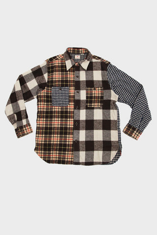 sugar cane and co Twill Check Work Shirt - Crazy Brown