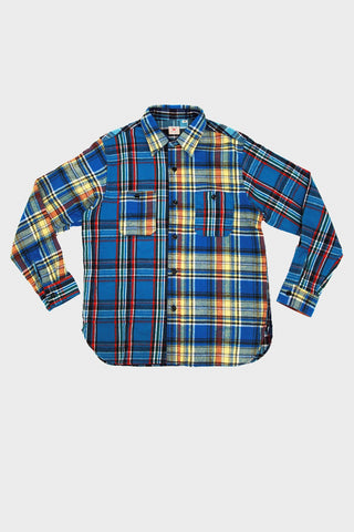 sugar cane and co Twill Check Work Shirt - Crazy Navy