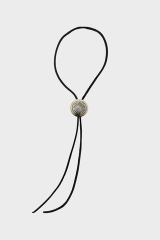 Leather Bolo Tie with Concho - Black