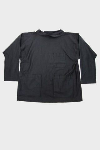 Workaday by Engineered garments Smock Popover - Black Reversed Sateen