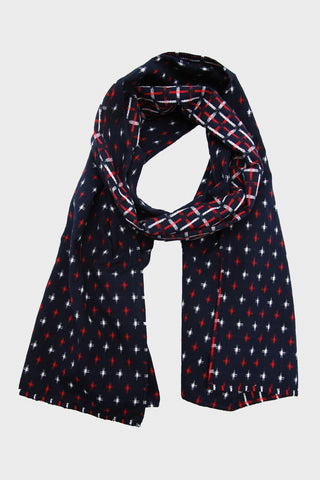 Scarf - Double Split Kasuri-Ori Red and White Crossweave