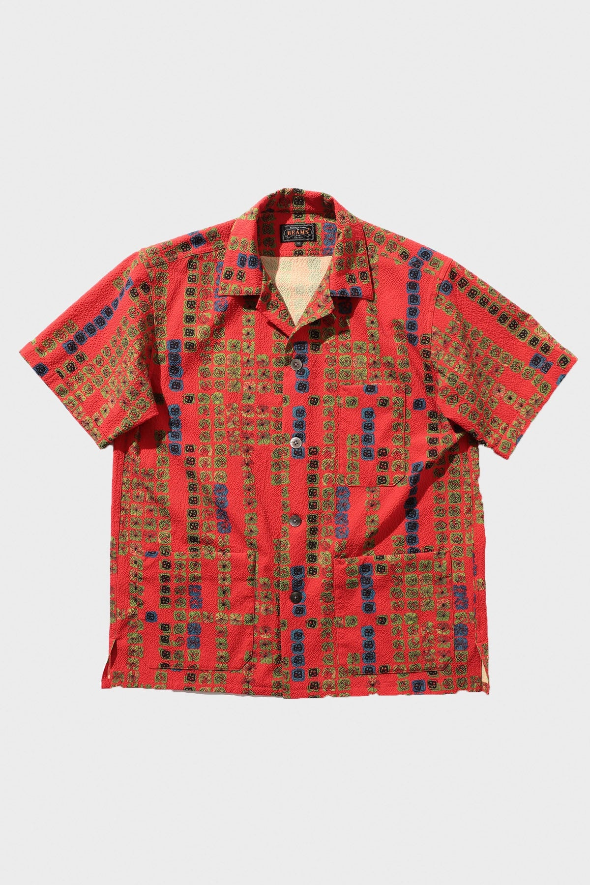 Beams Plus - Beach Jacket Seersucker Print - Red - Canoe Club