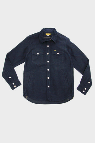 iron heart IHSH-216-NVY Heavy Moleskin C.P.O. Shirt - Navy Blue