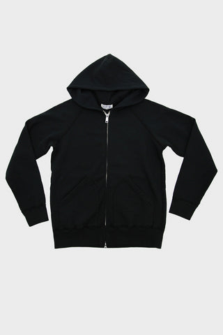 Hooded Sweatshirt with Zip - Black