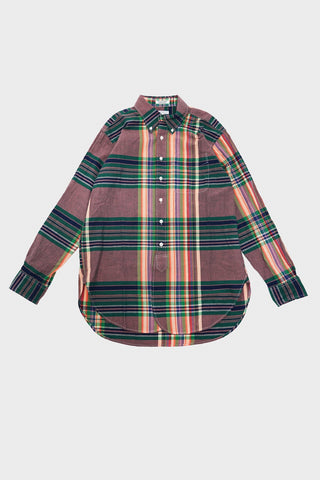 engineered garments 19th Century BD Shirt - Orange Green Navy Big Madras Plaid