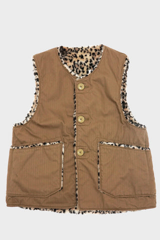 engineered garments Over Vest - Khaki Cotton Herringbone Twill