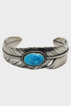Silver Feather Bracelet Wide w/ Turquoise