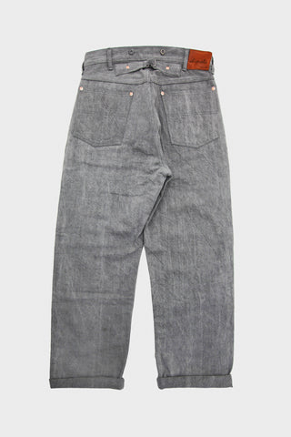 Selvedge Denim Cinch Back Pants - Gray