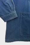 Blue Faded Cotton French Workwear Jacket