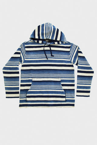 Yarn-Dyed French Terry Hood - Indigo Stripe