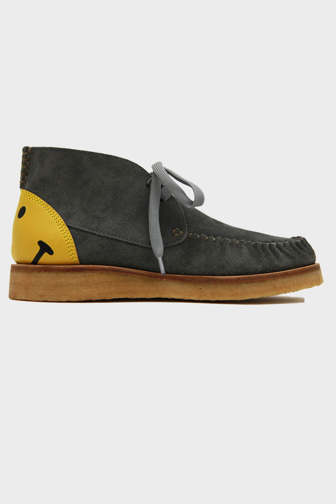 Leather Heel Smile Wallabees - Gray