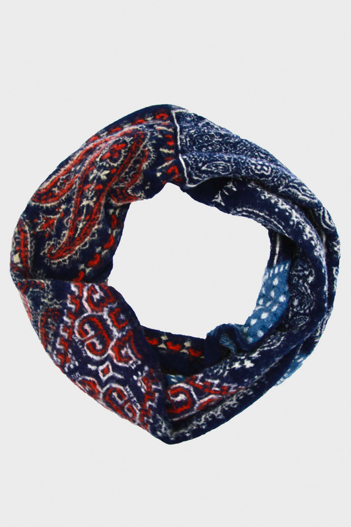 Compressed Wool Bandana Patchwork Necklace Scarf - Navy
