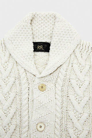 Aran Shawl Cardigan - Cream