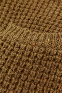 5G Wool Waffle Highneck Sweater - Gold