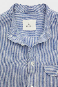 Viera Collarless Shirt - Blue Stripes