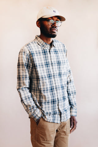 corridor clothing nyc Seersucker Plaid Long Sleeve - Indigo