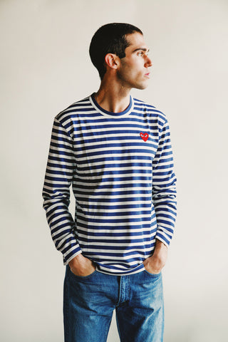 comme des garcons play Red Heart Striped T-Shirt - Navy/White
