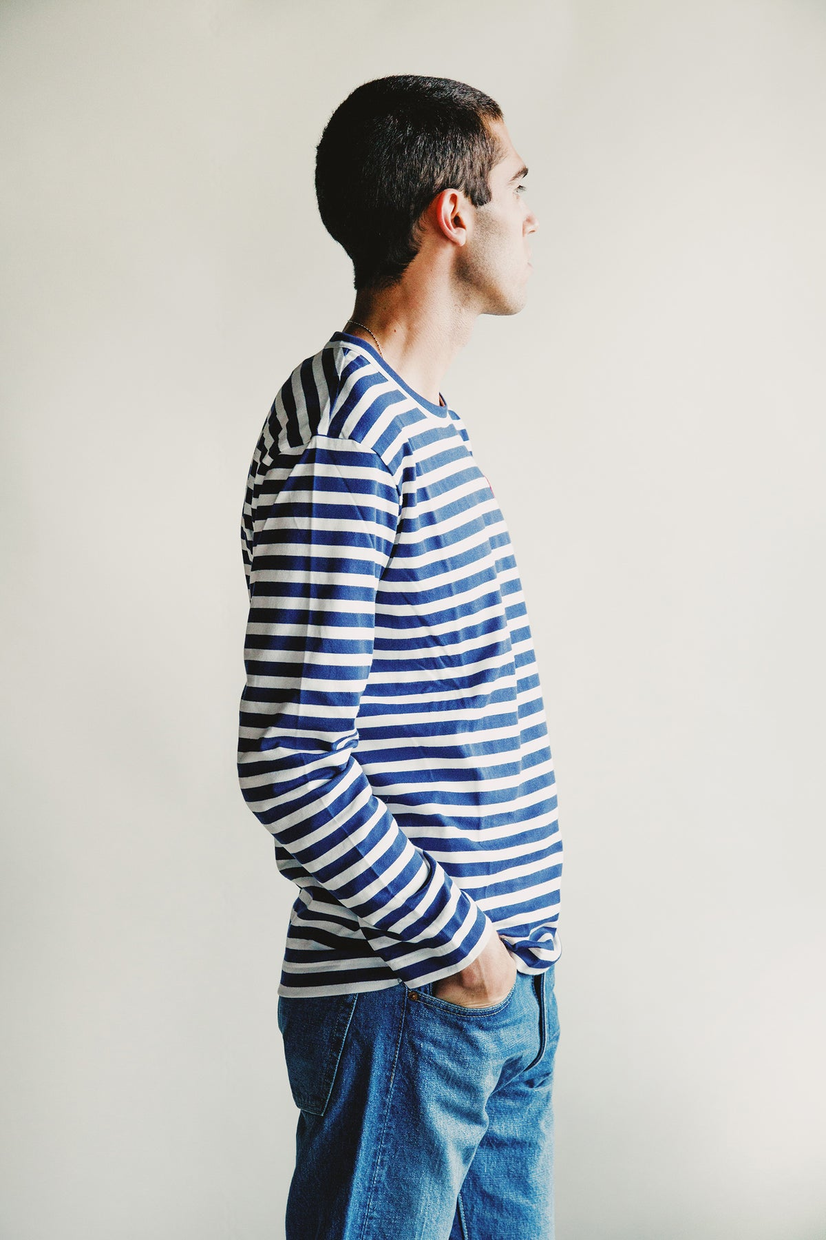 Comme des Garçons PLAY - Red Heart Striped T-Shirt - Navy/White - Canoe Club