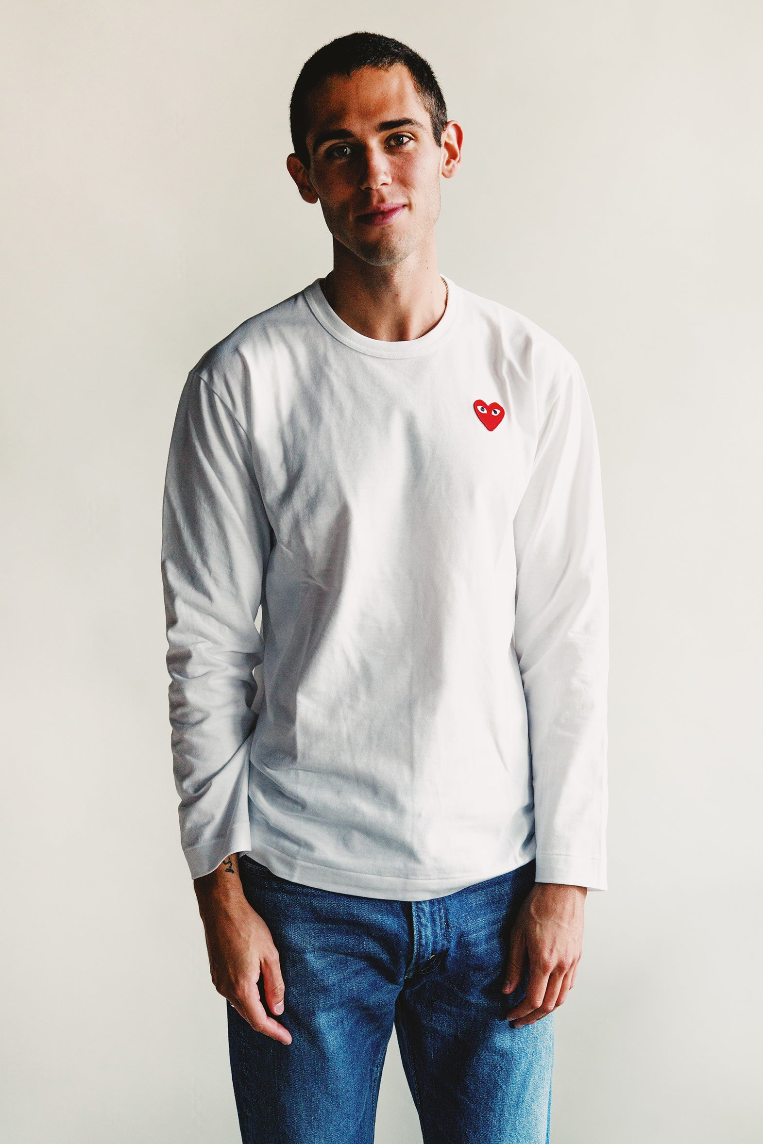 Comme des Garçons PLAY - Red Heart Long Sleeve T-Shirt - White - Canoe Club